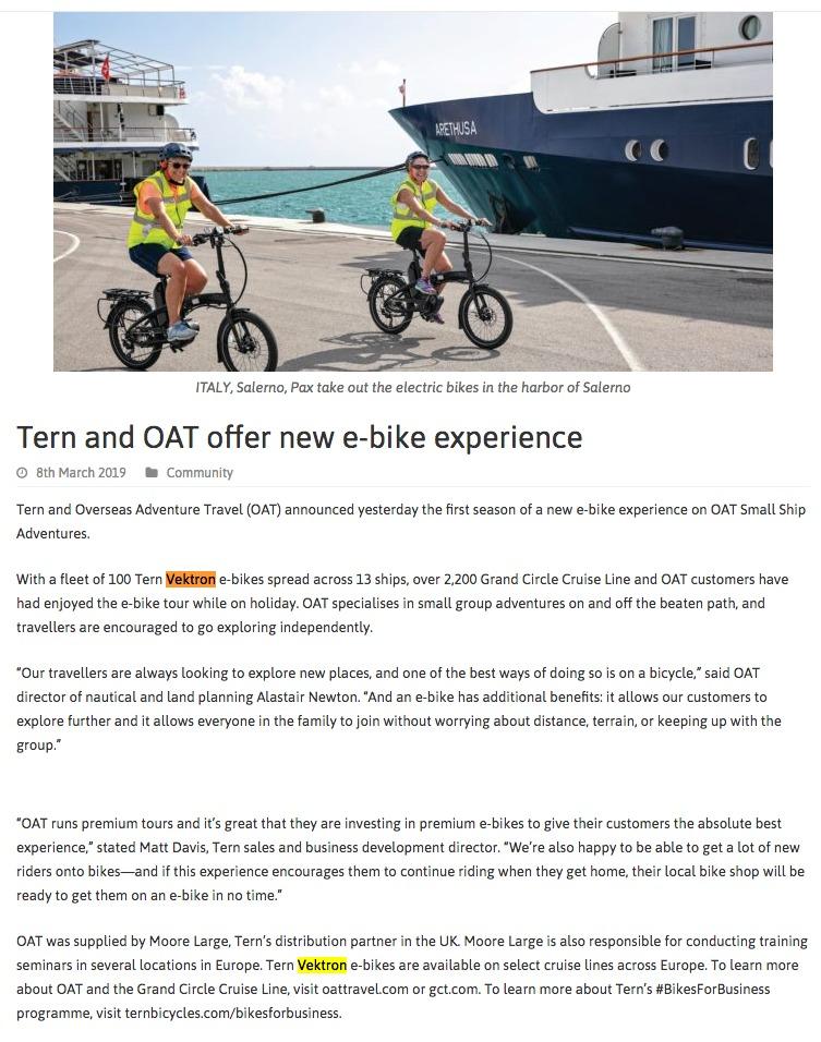 Tern and OAT offer new e-bike experience | Tern Folding Bikes